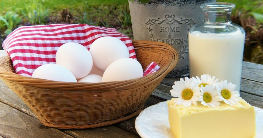 milk, butter, and eggs